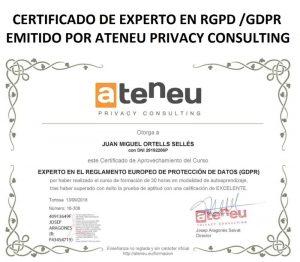 Certificado RGPD Ateneu