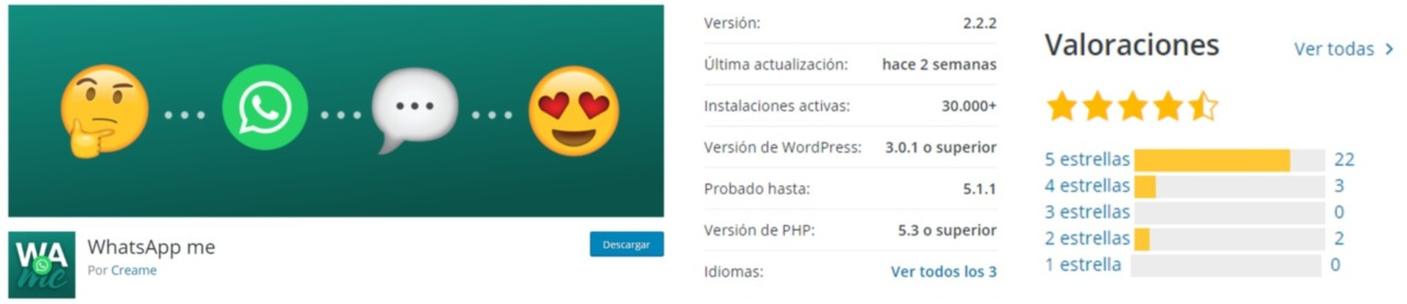 Plugin WordPress WhastApp me